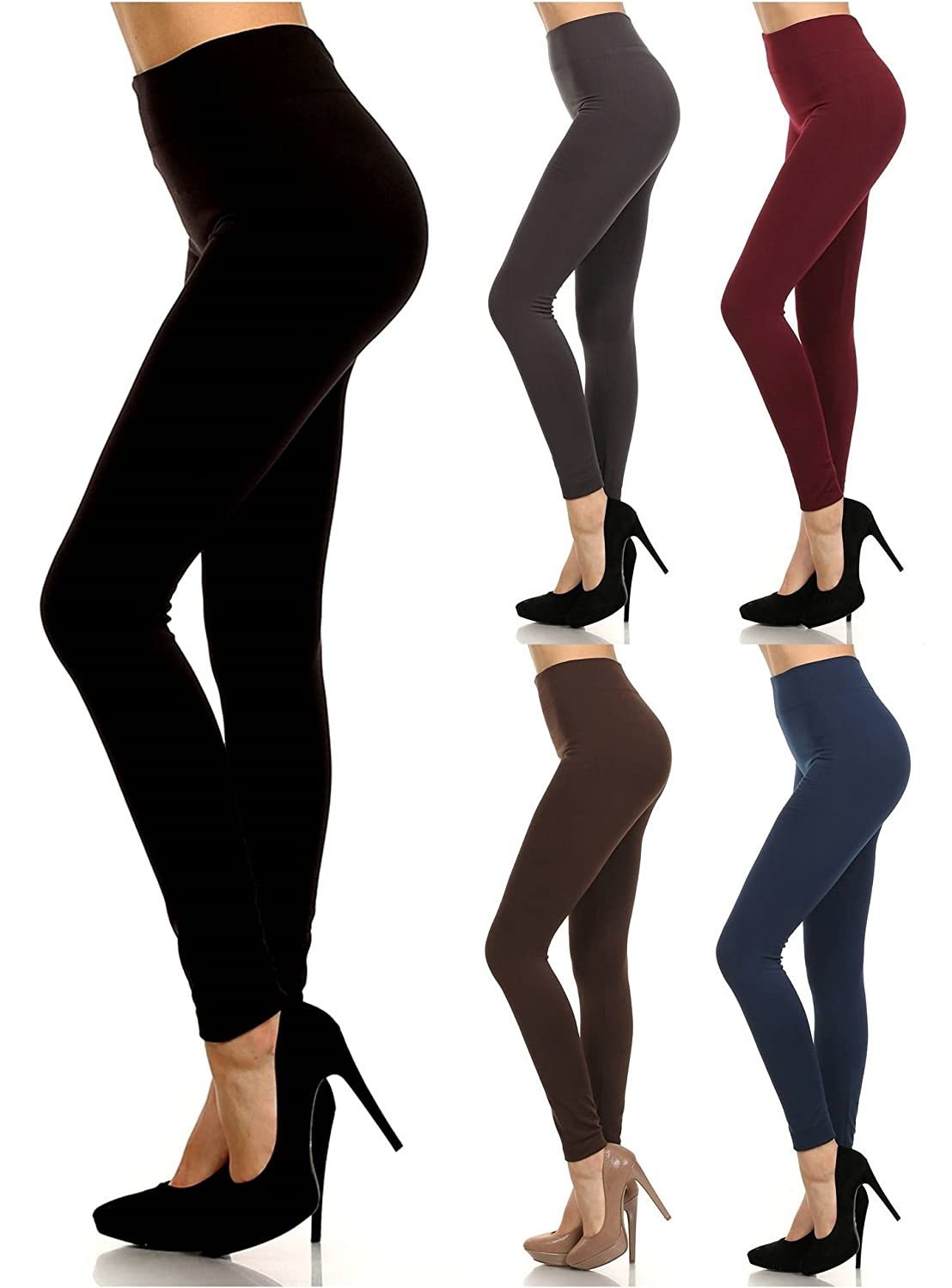 2ND DATE 6-Pack Of Seamless Fleece Lined Leggings - Stretchy Assorted Basic Colors