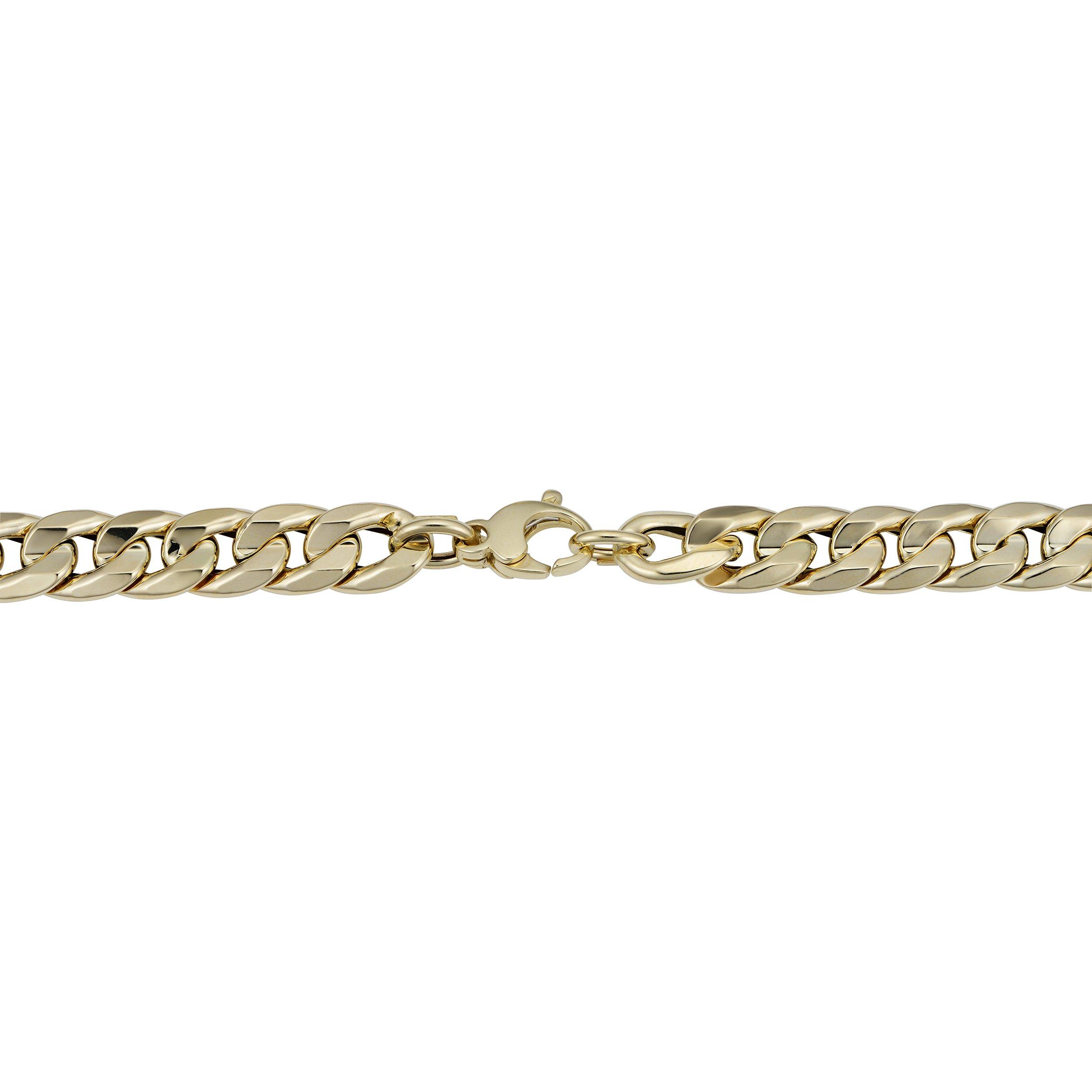 Mens 14k Yellow Gold Cuban Curb Link Bracelet (9.2mm, 8.5 inch) by Kooljewelry (Image #2)