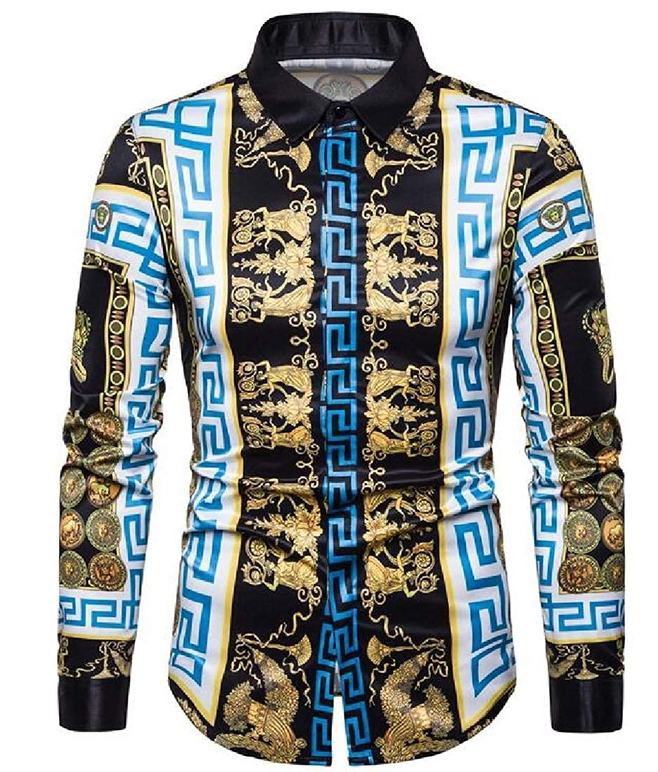 Fensajomon Mens Long Sleeve Button Down Summer Spread Collar Print Dress Shirts