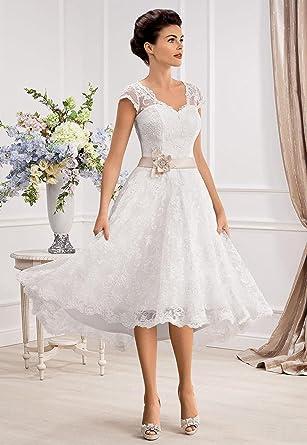 carnivalprom damen spitze prinzessin brautkleider kurz a linie v ausschnitt hochzeitskleid mit armeln weiss