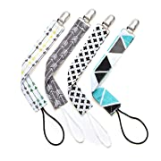 Welandtech Pacifier Clip Set– 4 Binky Clips for Boys and Girls– Universal Teething Ring/Teether Toys/MAM Soothie Pacifier Holder – Ideal (Black and Grey for Boys)