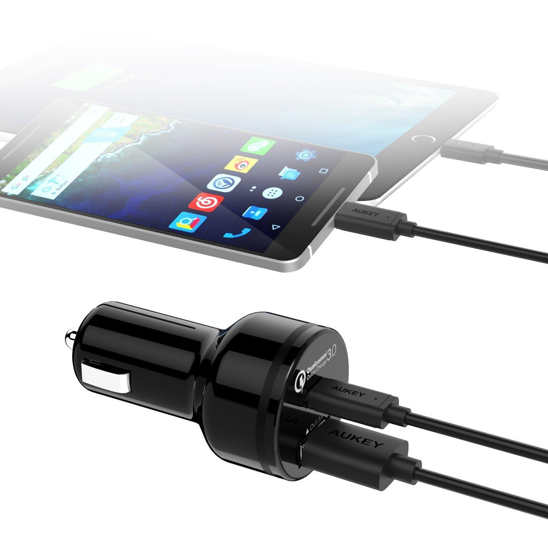 Aukey Quick Charge 3.0 USB C cargador de coche 2 puertos USB 33 W ...