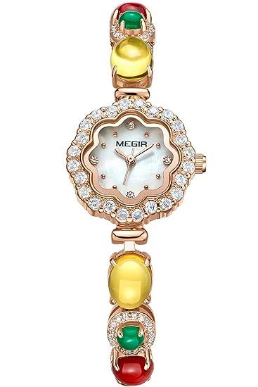 Megir Mujer Reloj joyas brillantes Reloj de pulsera acero inoxidable lujo Regalos Multicolor Bonito Reloj de