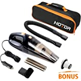[URPGRADED]Car Vacuum Cleaner, HOTOR DC12-Volt 106W Wet&Dry Portable Handheld Auto Vacuum Cleaner for Car,14FT(5M)Power Cord with Carry Bag(Black)
