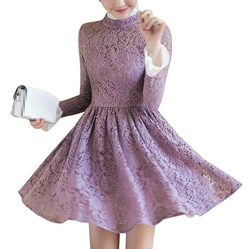 Señora Cuello Alto Impreso Manga Larga Casual Elegante Vestido
