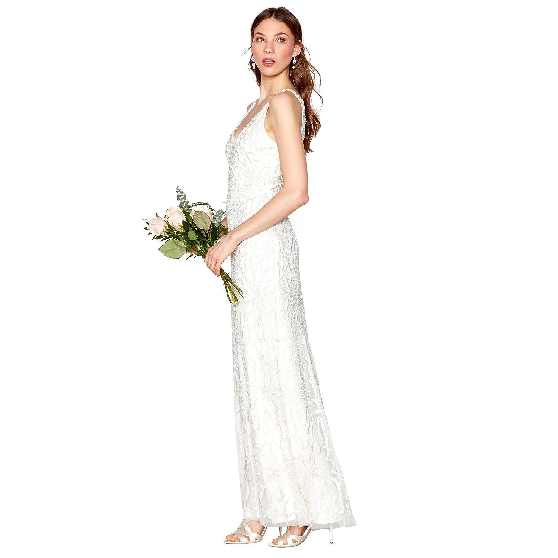 Ivory \'Bethany\' Beaded Sleeveless Full Length Bridal Dress: Nine by ...