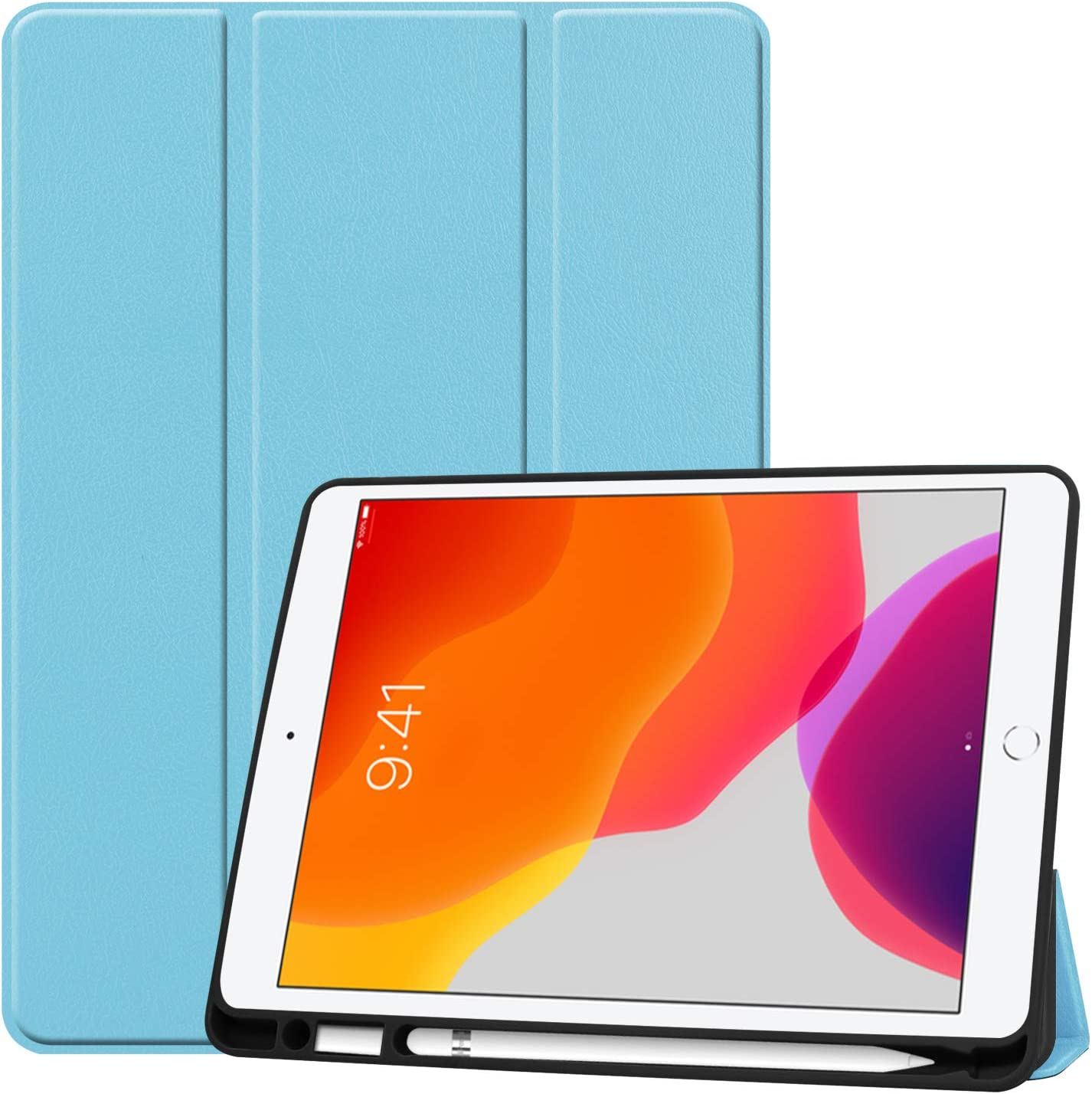 SZJCLTD iPad 10.2 Case & Pencil Holder- Slim Tri-Fold Case for iPad 8th Gen 2020/ iPad 7th Gen 2019 Apple Tablet, with Microfiber Inner Lightweight Smart Cover Auto Wake/Sleep & Pencil Holder