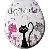 FoxTrot 12003CHA Abattant WC Motif Chat Chat Chat Plastique Thermodur 4,6 x 39 x 4,5 cm