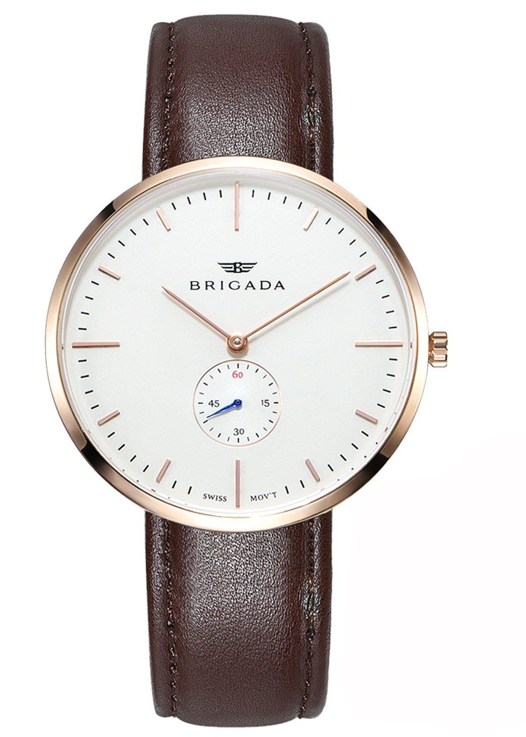Swiss Brand Nice Fashion Men's Dress Watch Waterproof, Rose Gold Case Swiss Movement Business Casual Men's Wrist Watch