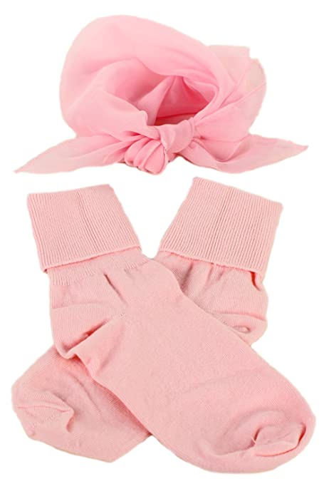 Vintage Socks | 1920s, 1930s, 1940s, 1950s, 1960s History Light Pink Bobby Socks & Sheer Scarf - Retro 50s Accessory Set $10.99 AT vintagedancer.com