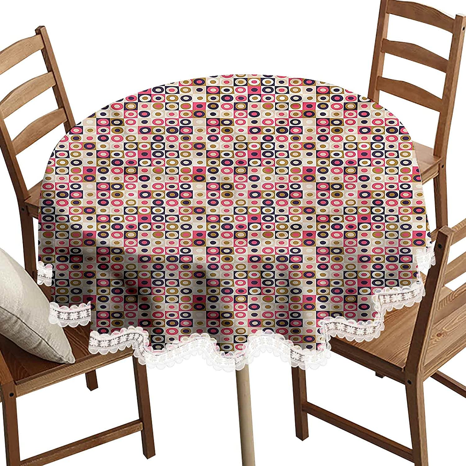 SoSung Geometric Round Decorative Tablecloth, Grid Design Squares Washable Polyester Lace Edge Table Covers, Diameter 48 Inch, for Kitchen Dinner Wedding Party Banquet Decoration