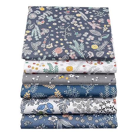 BYY - Lote de 6 telas de algodón para manualidades, 40 x 50 cm, color azul oscuro