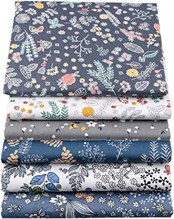 "YYSZ 6Pcs 18"" x 22"" Fat Quarters Fabric Bundles for Patchwork Quilting,Pre-Cut Quilt Squares for DIY Sewing Patterns Crafts …"