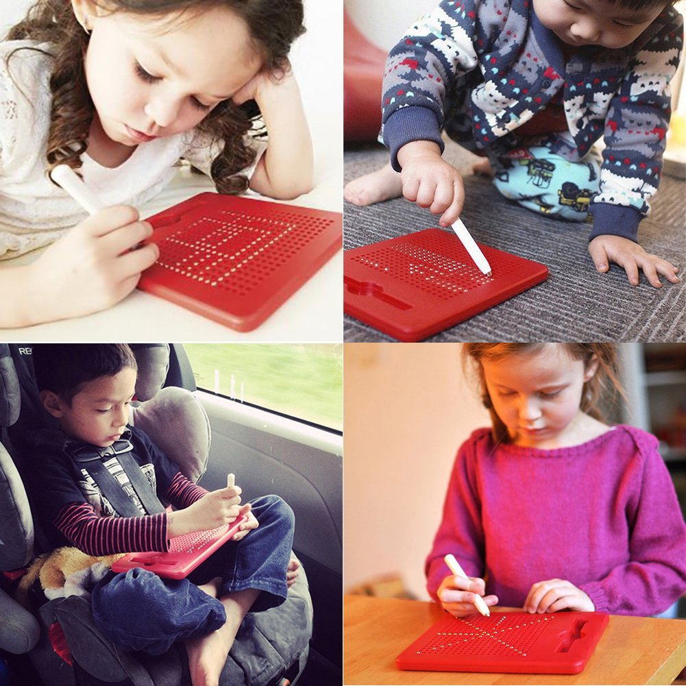 Free Play Magnapad Magnetic Drawing Board Tablet Writing Pad for Kids with Stylus and 10pcs Cards Big, Red