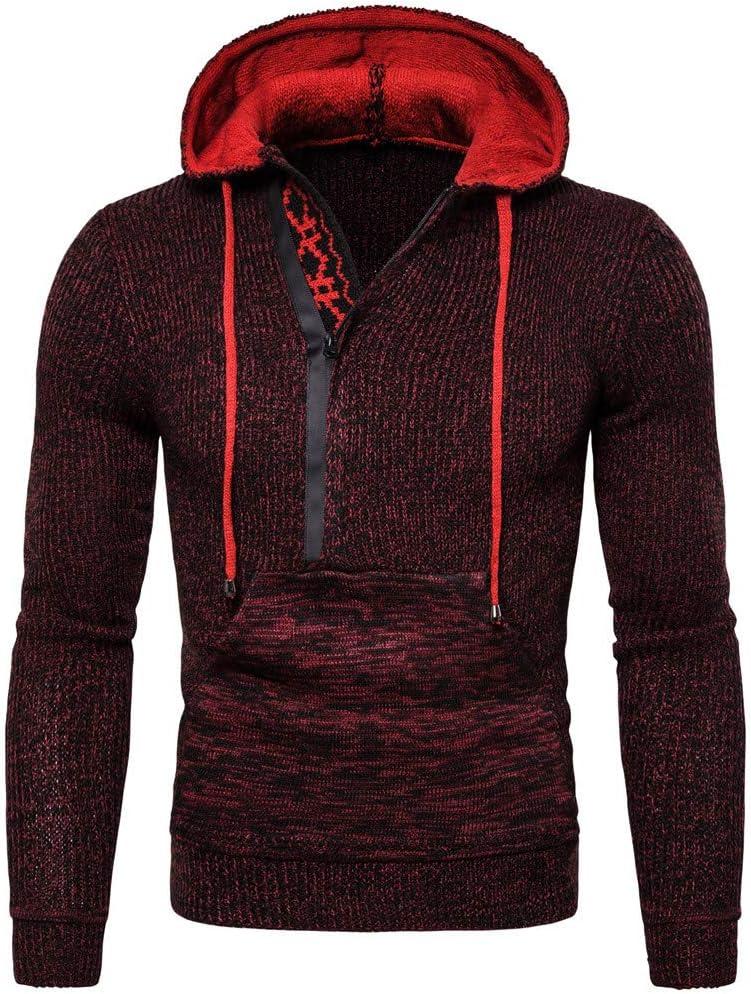 BXzhiri Mens Knitted Pullover Hoodie Warm Jumper Drape Choker Sweater Winter Blouse Top