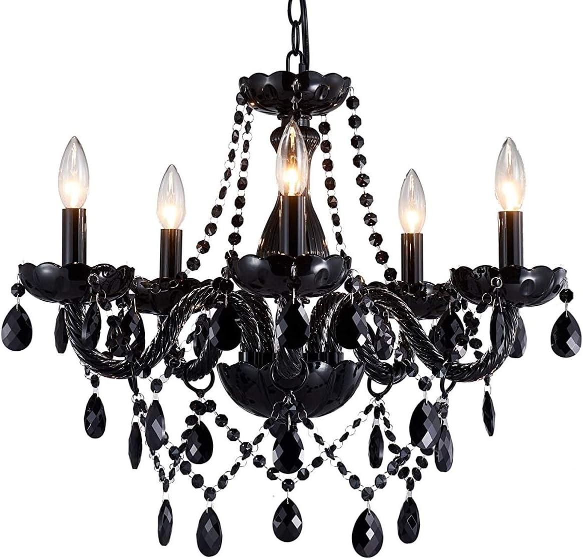 Saint Mossi Modern Contemporary Elegant K9 Crystal Glass Chandelier Pendant Ceiling Lighting Fixture – 5 Lights, Black Painted