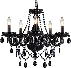 Saint Mossi Modern Contemporary Elegant K9 Crystal Glass Chandelier Pendant Ceiling Lighting Fixture - 5 Lights, Black Painted
