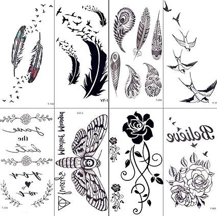 MRKAL Tatuajes Temporales Sexy Negro Tribal Pluma Aves Tatuaje ...