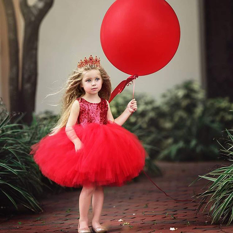 LZH Toddler Ragazza tut/ù Vestito con Paillettes Pizzo Gonna di Danza Classica con Balze a Forma di Principessa