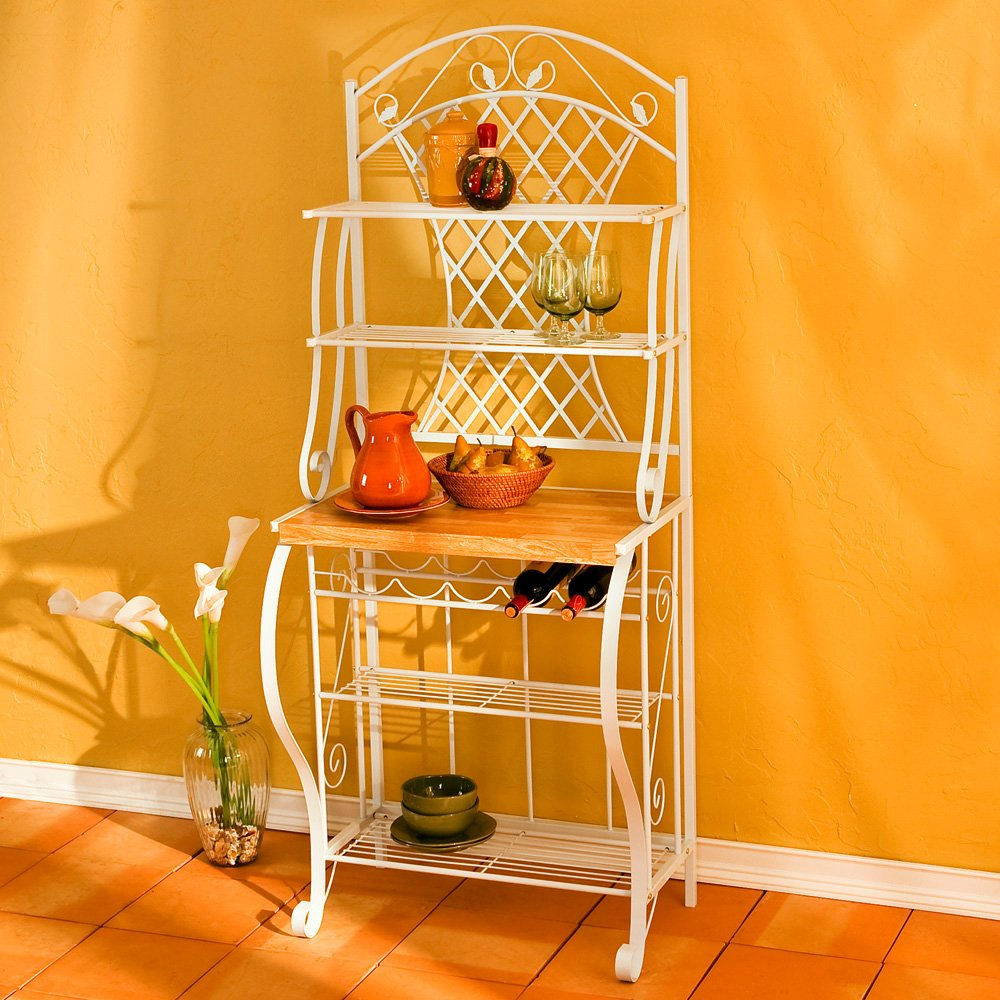 Southern Enterprises Trellis Bakers Rack with Scroll Work, White with Oak Finish by SEI (Image #4)