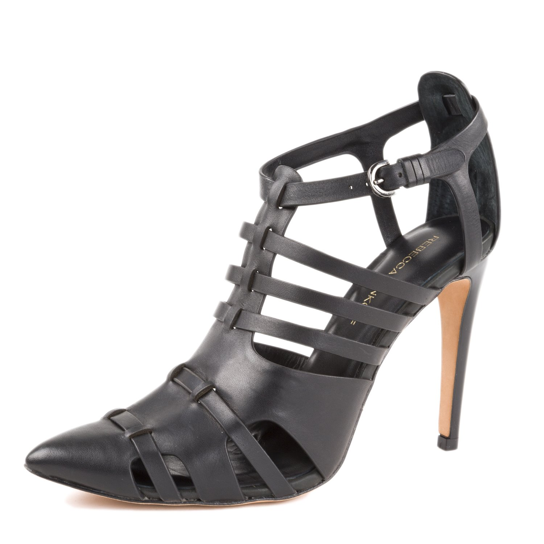 Rebecca Minkoff Women's Randi Leather Pointed-Toe Pumps US 10 Black