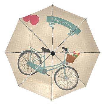 Ieararfre Paraguas Vintage para Bicicleta Triple Plegable Paraguas Resistente al Viento, Mango Ergonómico, Toldo