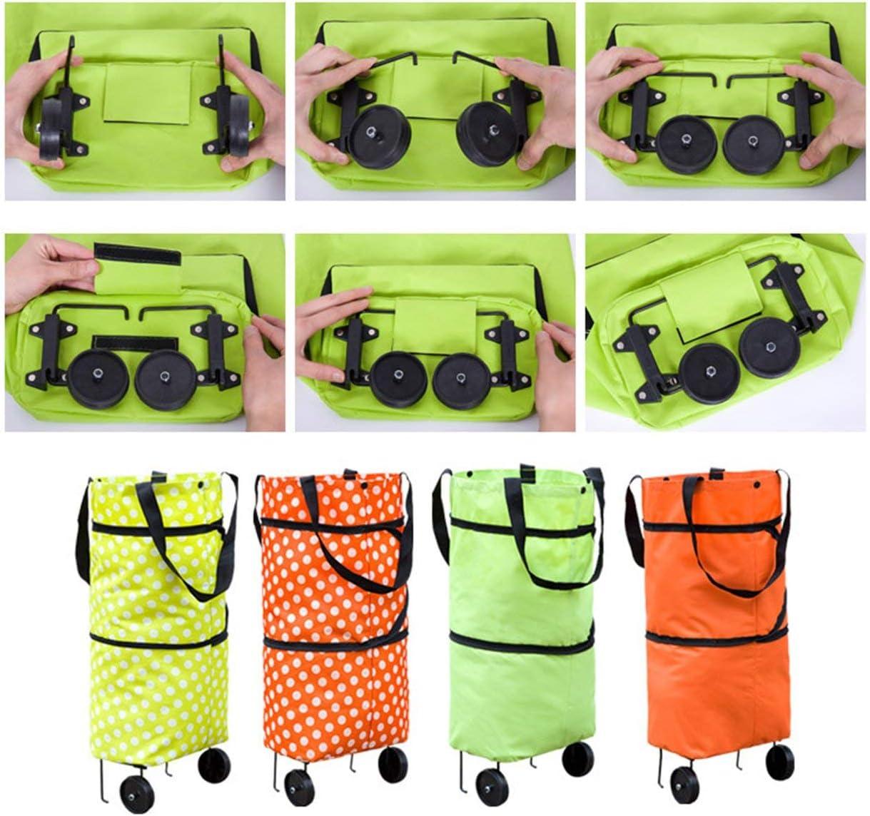 Lodenlli Fashionable Design Large Capacity Waterproof Oxford Cloth Foldable Shopping Trolley Wheel Bag Traval Cart Luggage Bag