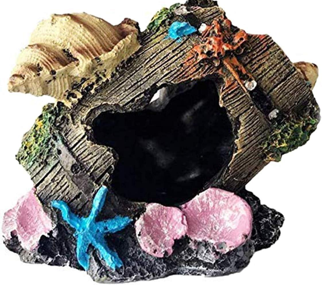 Gumolutin Fish Tank Aquarium Decorations Resin Broken Barrel Aquarium Ornament Aquatic Caves Hide Hut