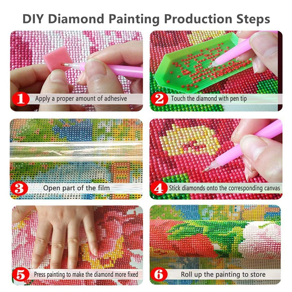 Diamond Painting Kits for Adults Kids 5D DIY Arts Full Drill Crystal Rhinestone Embroidery Stitch Craft Canvas Wall Decor