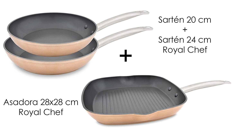 MENAX ROYAL CHEF - Set Sartén (20+24 cm) + Asadora (28x28 cm) de Aluminio Forjado de Alta Calidad con Antiadherente