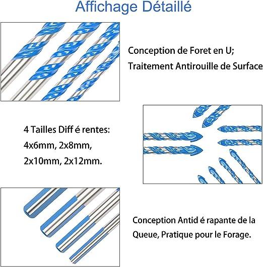 Lot de 10 forets de ma/çonnerie en carbure de tungst/ène pour carrelage mur de brique verre b/éton miroirs carrelage 3 4 5 6 6 8 8 10 12 mm bois plastique