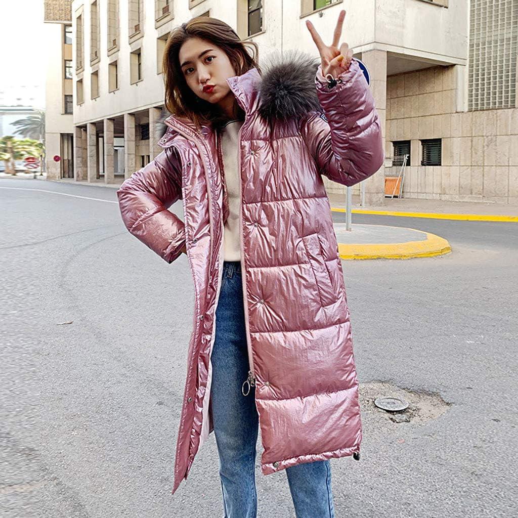 Wanshop - Cappotto da donna invernale lungo con cappuccio e colletto in pelliccia Rosa