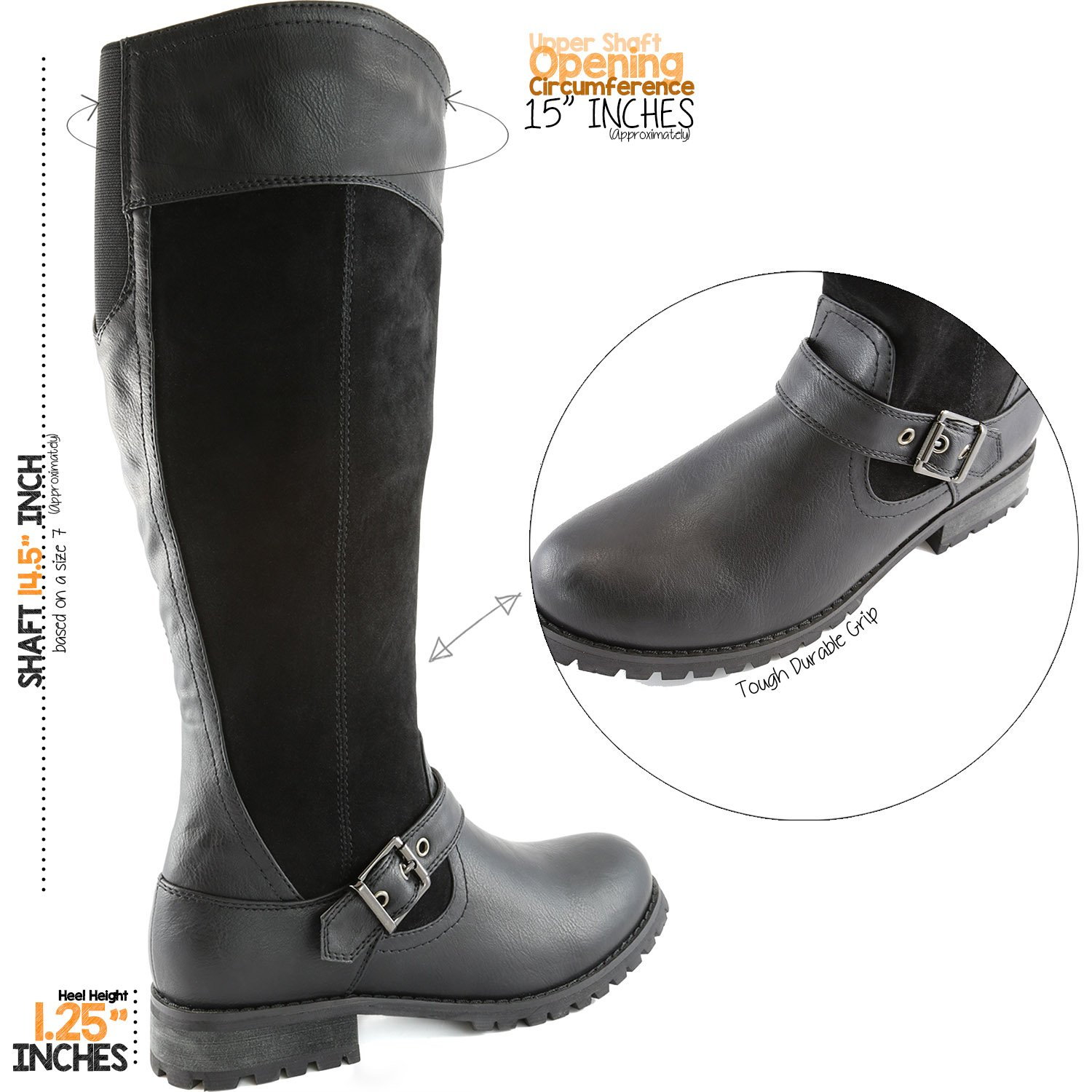 DailyShoes Women's Knee High Ankle Buckle Strap Military Combat Boots, 9 B(M) US Black SV by DailyShoes (Image #4)