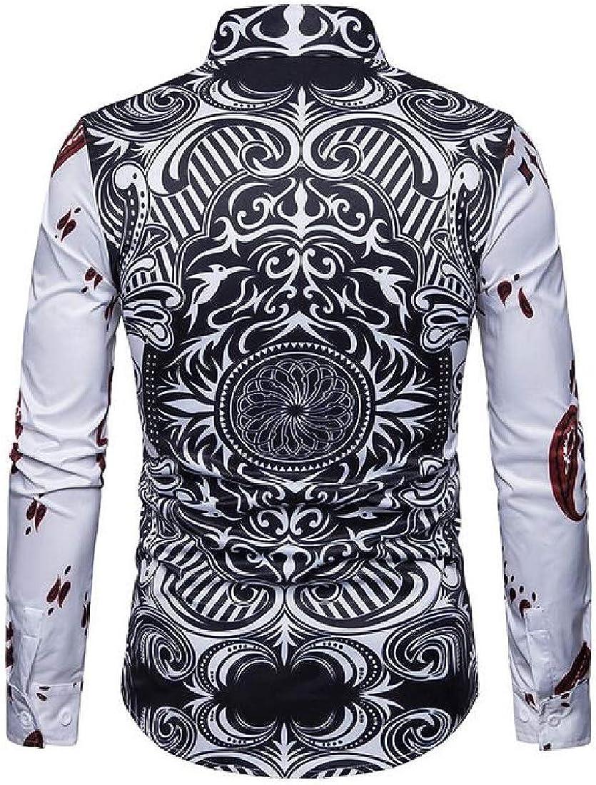 Domple Mens Poker Printing Slim Button Down Long Sleeve Button Down Dress Work Shirt