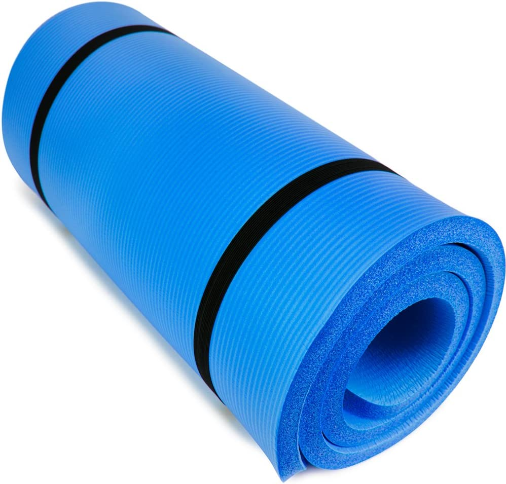 "Yoga Cloud - Extra Thick 1"" Exercise Mat with Shoulder Sling - 25mm Non-slip, Moisture-Resistant Foam Cushion for Pilates and Working Out - Ultra Balance & Support for Joint Health, & Physical Therapy : Sports & Outdoors"