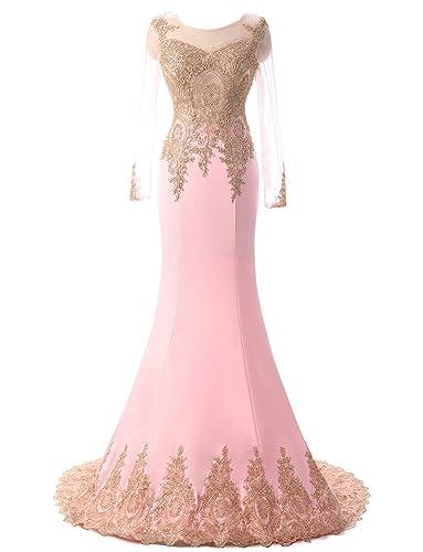 Erosebridal Women's Long Sleeve Evening Dress Sexy Applique Mermaid Prom Gown