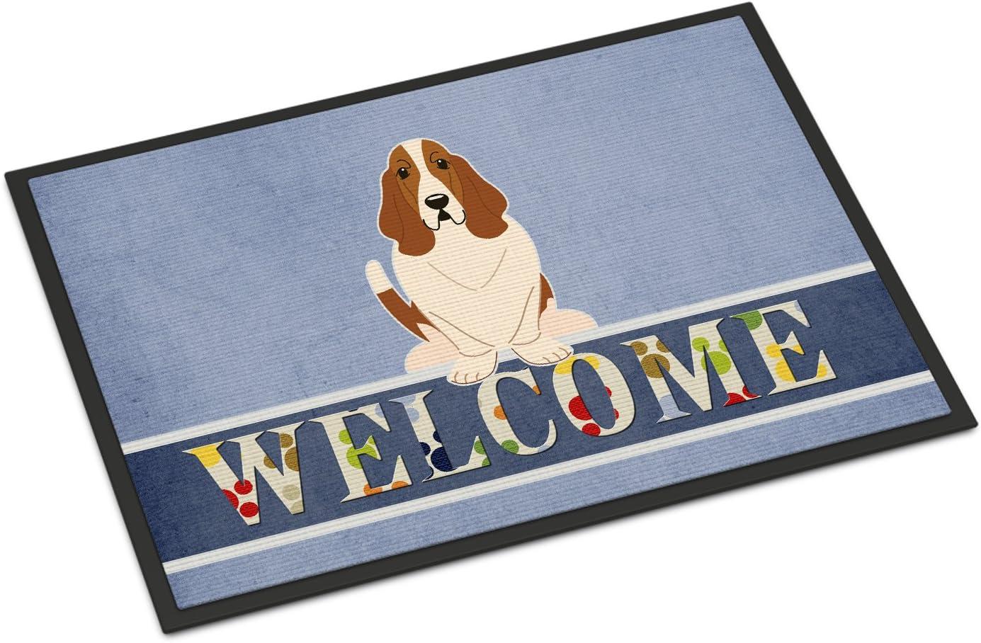 Caroline's Treasures BB5602MAT Basset Hound Welcome Indoor or Outdoor Mat 18x27, 18H X 27W, Multicolor
