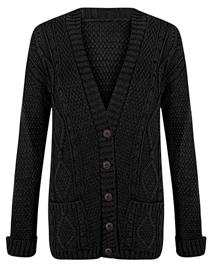 Cardigan Womens Cable Knit Chunky Ladies Grandad Boyfriend Pocket Button up  Top Black-Small  601baedc5