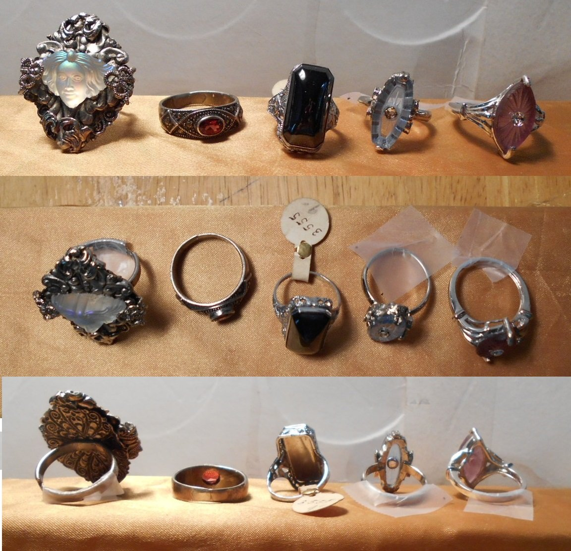1 Vintage Purple Camphor Glass Ring w/ Rhinestone, Vintage Amethyst Starburst Camphor Marquise Shape, New Marked 925. Size 6 1/2. OOAK! by EMENOW