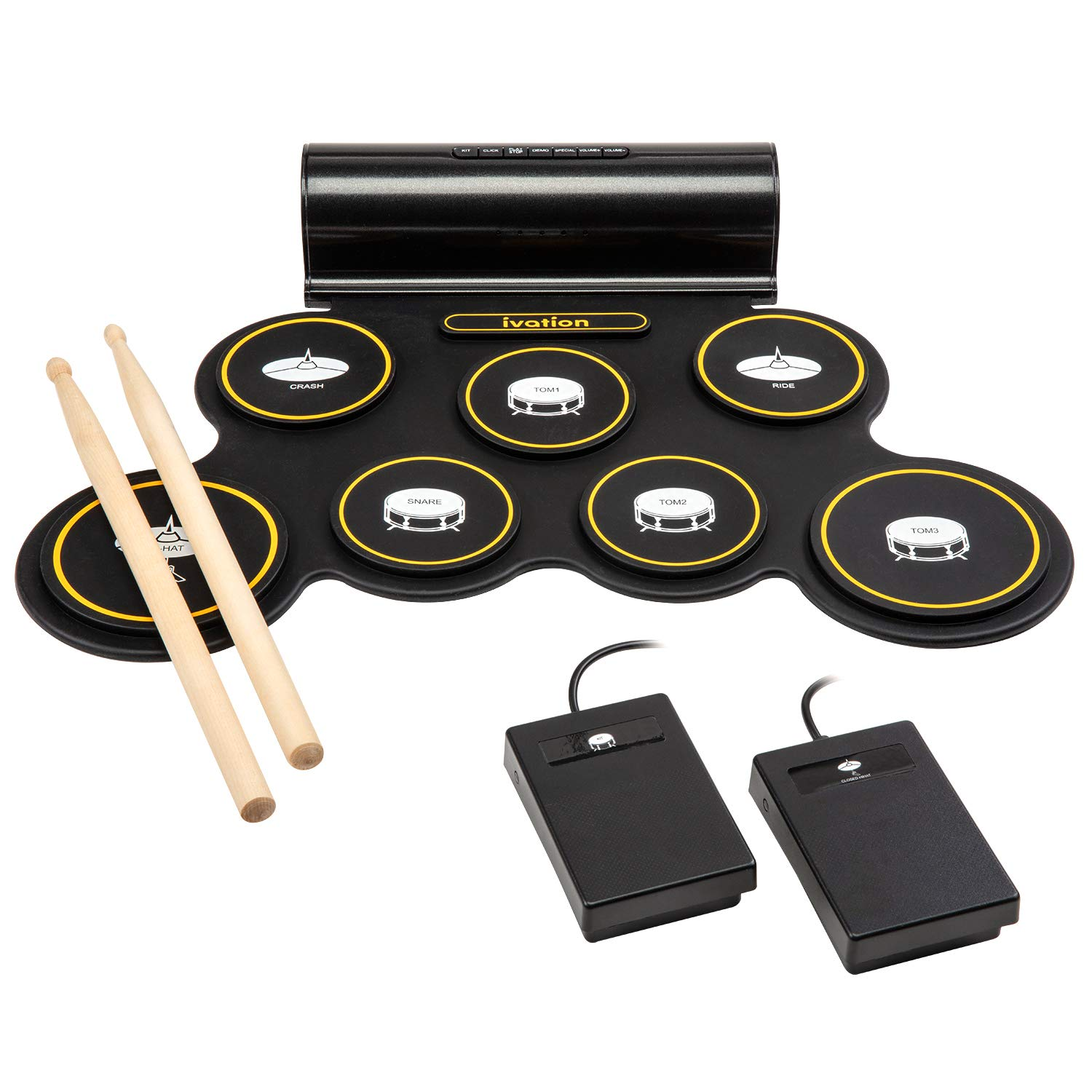 Ivation Portable Electronic Drum Pad - Digital Roll-Up Touch Sensitive Drum Practice Kit - 7 Labeled Pads 2 Foot Pedals Kids Children Beginners (With Speaker and Built in Rechargeable Battery) by Ivation