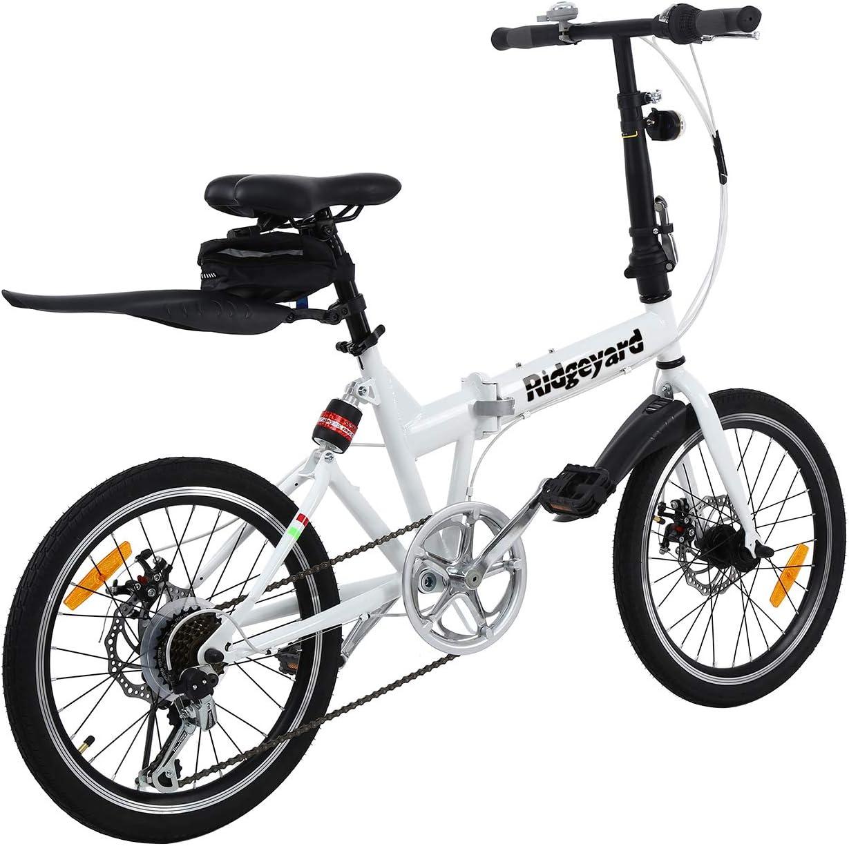 Fahrradglocke LED Batterie Leuchte Sitztasche MuGuang Faltbares Fahrrad 20 Zoll 7 Gang Faltmaschine Wei/ß