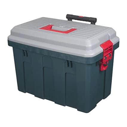 Storage Trunk W/ Wheels U0026 Extendable Handle Rolling Garage Storage Box  RV 650