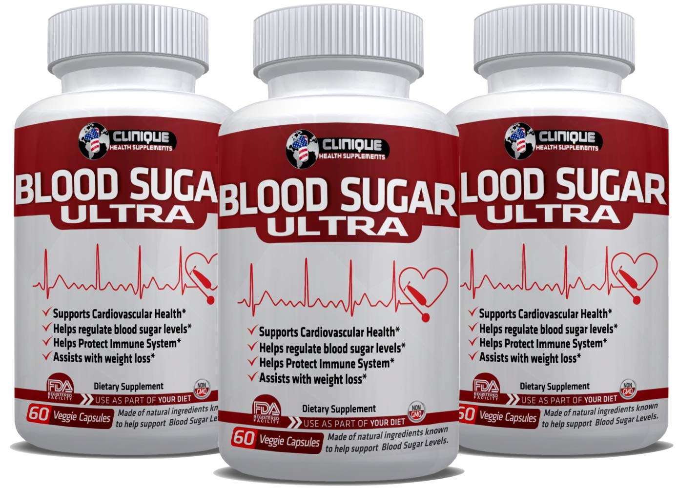 1Clinique's Blood Sugar Ultra | Value Pack 3 x 60 Capsules | Regulates Blood Sugar Levels | Cardiovascular Health | Healthy Immune System & Pancreas Function | Made in USA