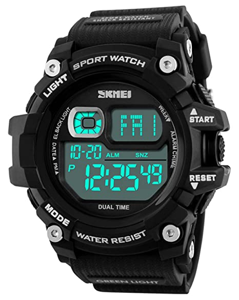 Mastop Brand Mens Digital Watches Big Dial Multifunction Chronograph Outdoor Waterproof Sport Wrist Watch (Black