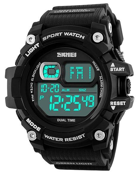 Mastop Brand Mens Digital Watches Big Dial Multifunction Chronograph Outdoor Waterproof Sport Wrist Watch (Black