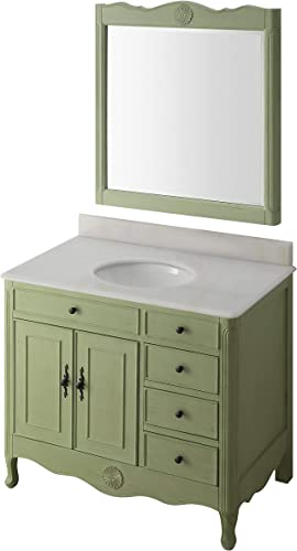 38″ Benton Collection Distressed Green Daleville Bathroom Sink Vanity w/Mirror HF-837G-MIR