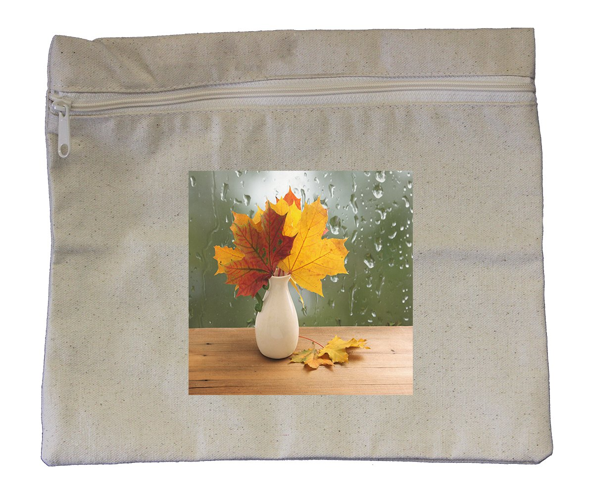 Canvas Zipper Pouch Tote Bag 10''X12'' Bouquet Of Autumn Leaves On Window Sill