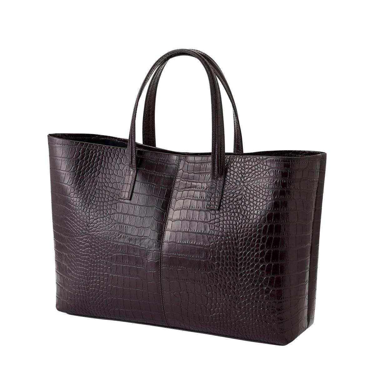 [オジエ] ozie【バッグ鞄かばん】メンズトートバッグビジネスバッグレザーバッグクロコダイル型押し牛革 ブラウン   B07RBVSV99
