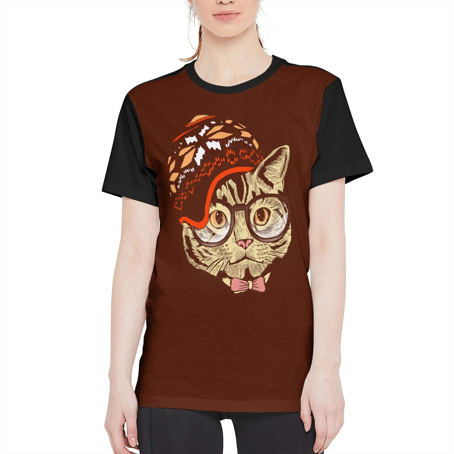 Shopping Females Full Print T-Shirt Hipster Cat with Hat Short Tees New Classic