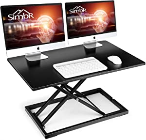 Standing Desk Converter, SIMBR 32 inch Height Adjustable Computer Desk, Gas Spring Stand Up Desk Converter Fits Dual Monitors, Sit-Stand Laptop Riser Workstation for Home and Office